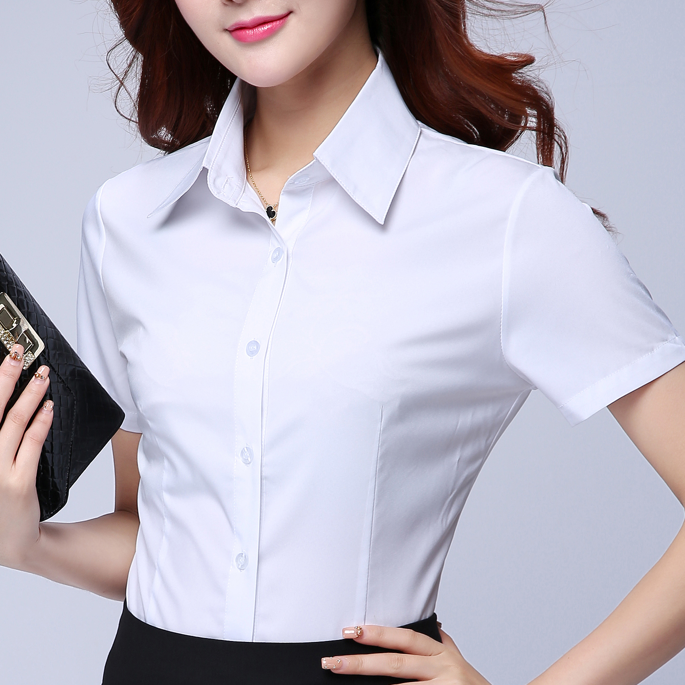夏季雪纺大码短袖衬衫女上衣职业装衬衣正装工作服工装夏季半袖白