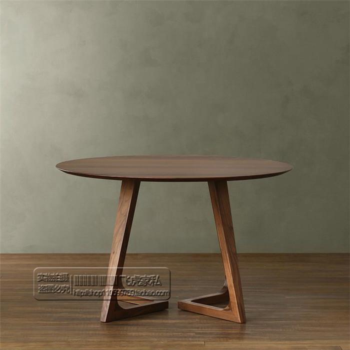 特价北欧经典欧式北美黑胡桃木家具实木圆餐桌