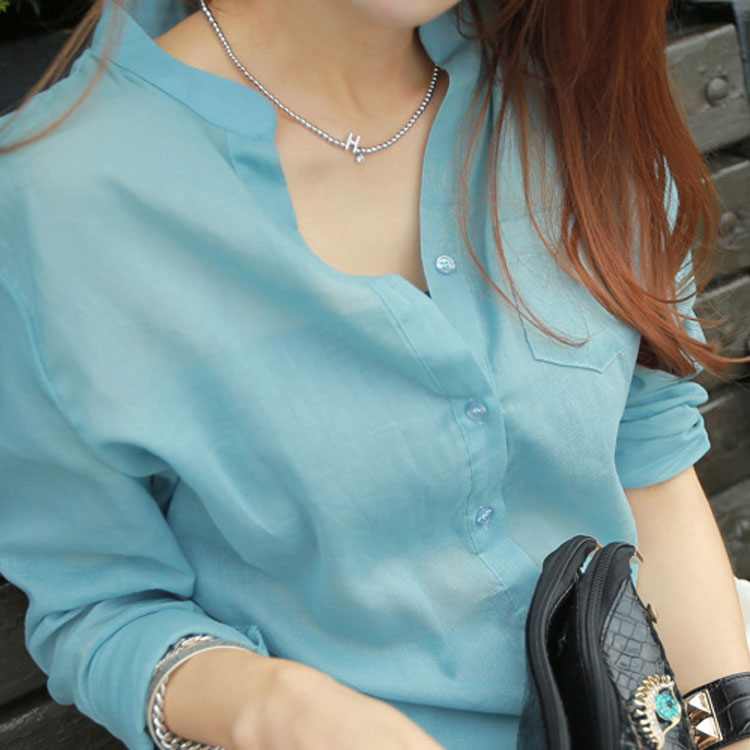 2015春新款韩版大码宽松棉麻女装亚麻衬衣长袖衬衫女上衣休闲女衫