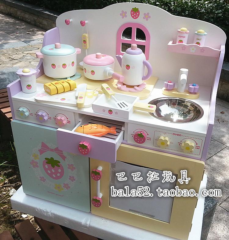 最新款Mother Garden草莓超大豪华厨房灶台 木制过家家儿童玩具