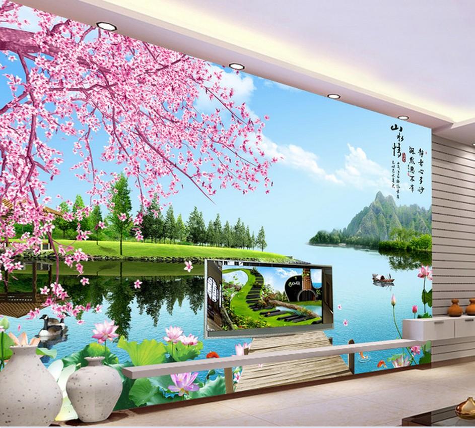 瓷砖背景墙 客厅现代沙发电视背景墙 陶瓷背景墙砖 山水情壁画