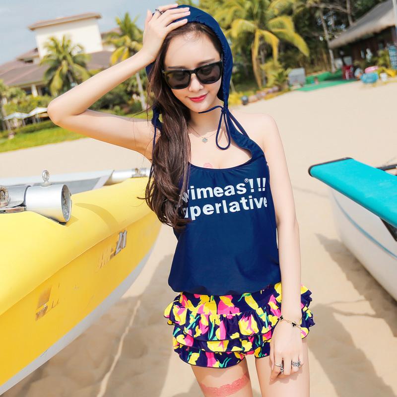 韩国分体bikini保守遮肚大小胸钢托聚拢比基尼游泳衣女三四件套装