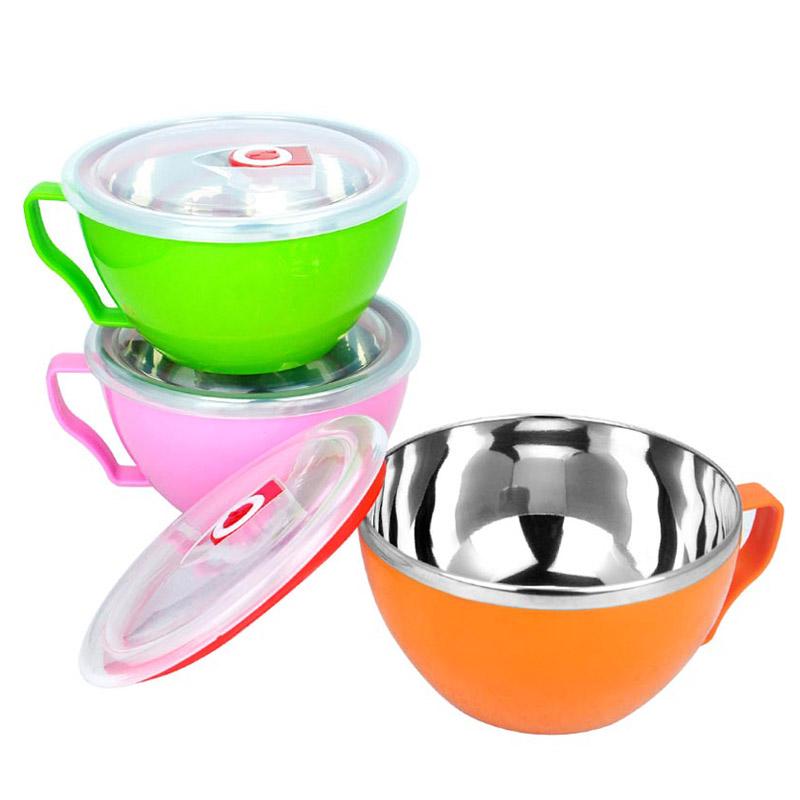 不锈钢碗泡面碗带盖大号餐具套装日式便当盒饭盒方便面专用杯汤碗
