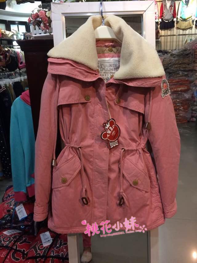 2014秋冬小熊维尼TW专柜收腰抽绳显瘦中长款甜美可爱风衣外套棉衣