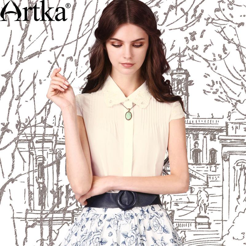 阿卡西莉亚2015夏装新款女绣花立领短袖雪纺衫衬衫SA10251X