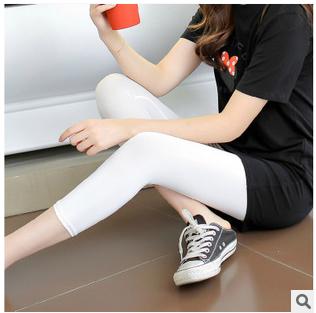 夏季薄款七分裤新款打底裤修身显瘦韩国进口帖色牛奶丝