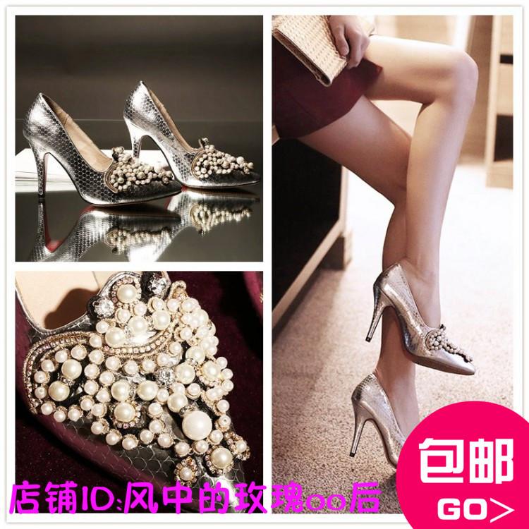香港代购春季韩版蛇纹手工串珠珍珠精致尖头真皮子高跟婚鞋单鞋女