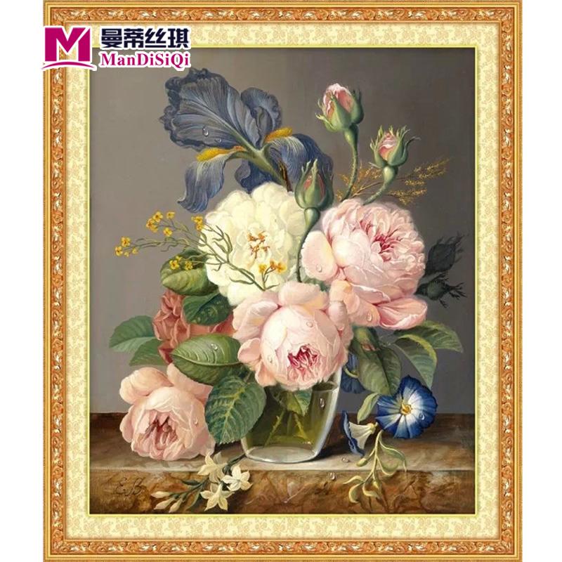 油画十字绣玄关竖版新款客厅小幅欧式花卉十字绣卧室丝线印花满绣