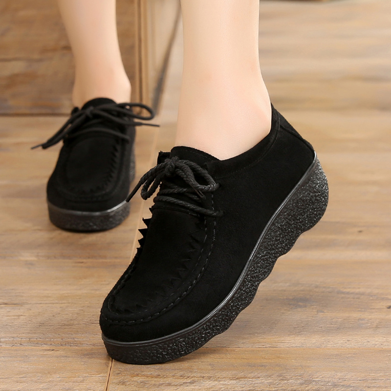 春季老北京布鞋女鞋单鞋坡跟平底松糕厚底豆豆鞋圆头系带女工作鞋