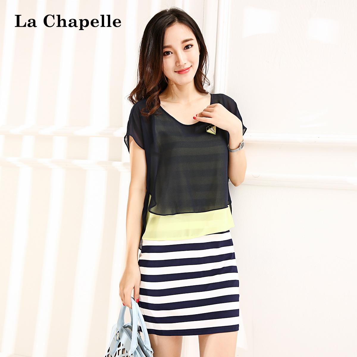 拉夏贝尔La Chapelle 条纹印花雪纺拼接两件套短袖连衣裙10100686