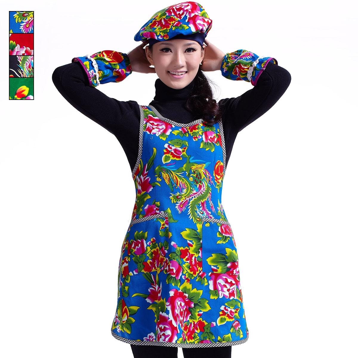 奶茶店火锅城蛋糕房茶楼工作服 79177多色花布围裙+袖套+帽子套装