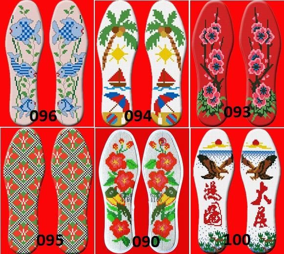 毛线十字绣鞋垫_穿孔针孔十字绣鞋垫半成品 图案 图纸丝线边纯手工棉空白套件