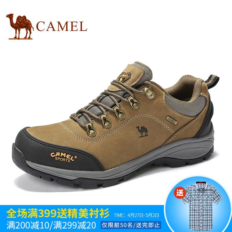 骆驼户外休闲鞋子男耐磨登山鞋防水防滑减震头层牛皮秋冬季徒步鞋