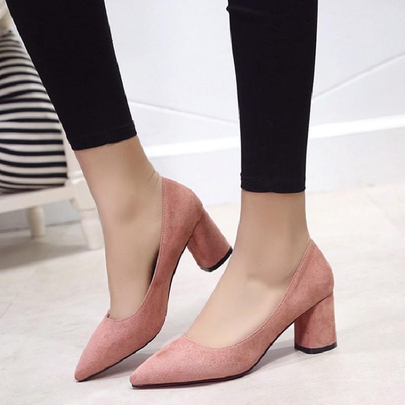 2018纯色素面磨砂绒面尖头浅口粗跟中跟女士单鞋女鞋大小码定做