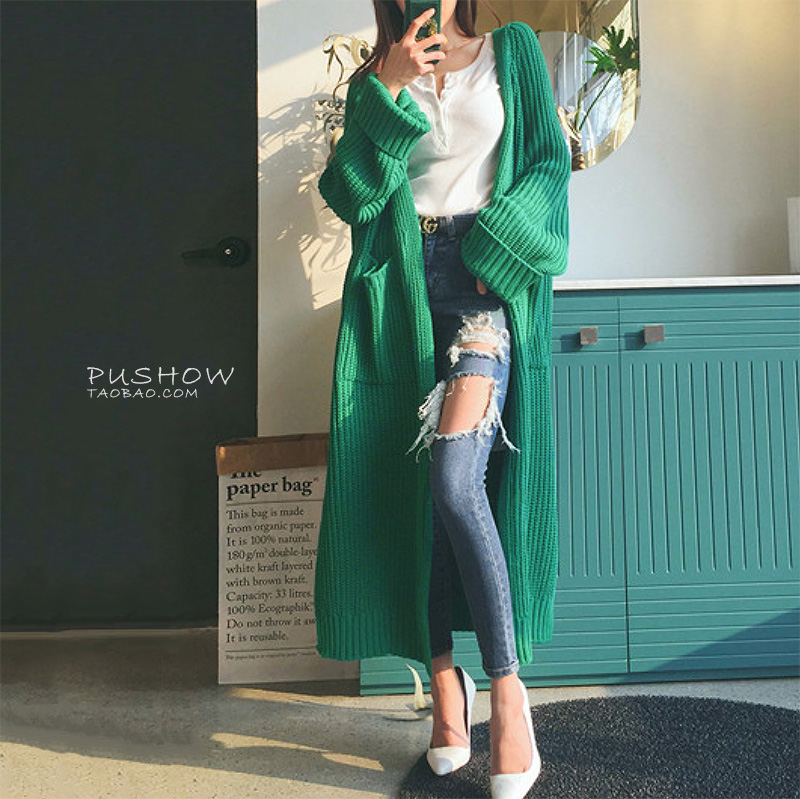 2018春秋新品韩版纯色粗毛线毛衣开衫外套女宽松口袋针织衫中长款
