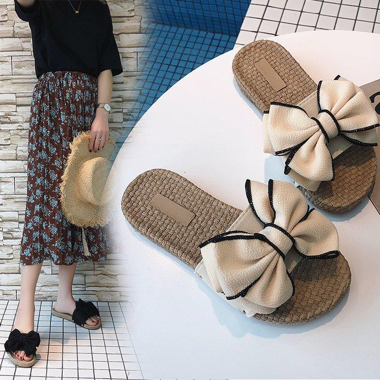 新款沙滩拖鞋女夏蝴蝶结厚底一字拖平底防滑时尚外穿海边度假凉拖