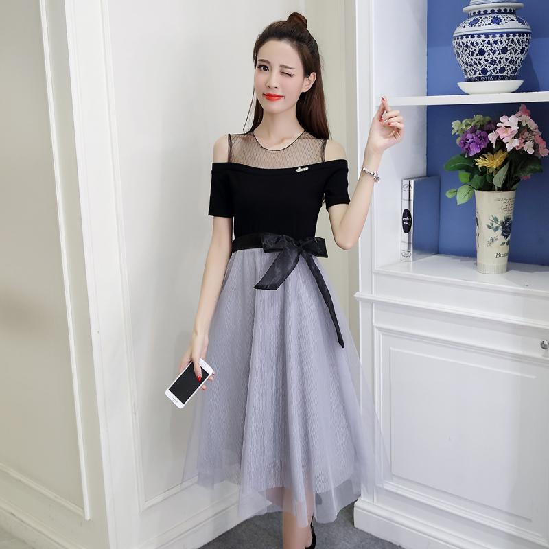 一字露肩网纱小心机连衣裙女夏季2018春新款修身显瘦中长款纱裙子