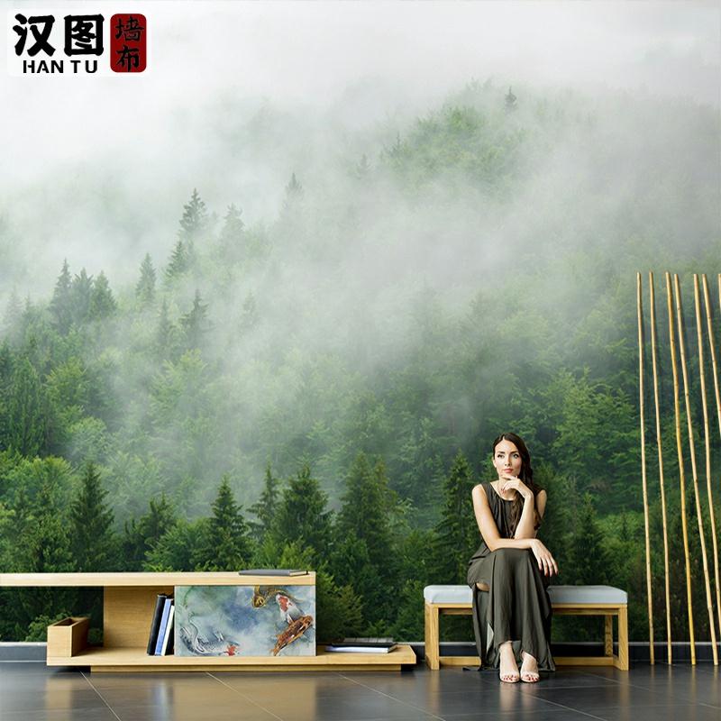 北欧绿色树林森林系壁纸墙纸大自然3d风景背景墙壁画卧室客厅墙布