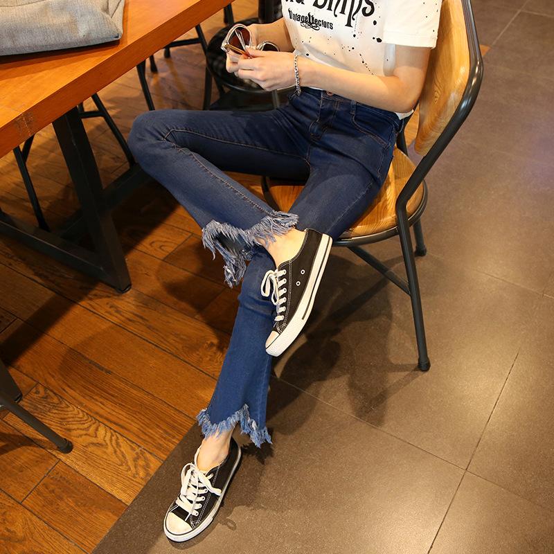 2018春季韩版喇叭牛仔裤女新款流苏边九分裤微喇高腰弹力牛仔裤子