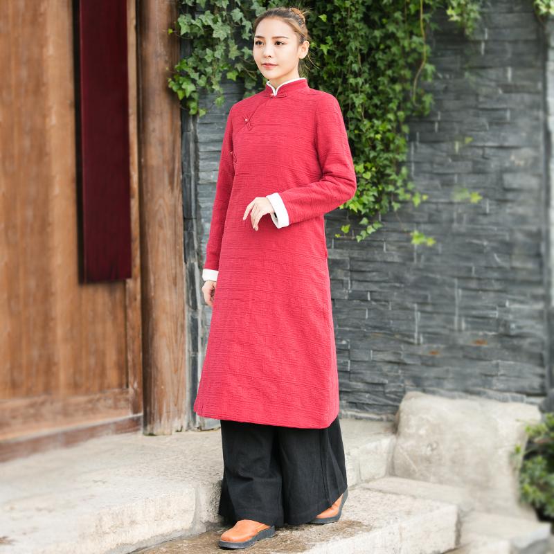秋冬民族风中式棉麻盘扣复古棉衣外套女装中长款加厚保暖棉服禅意
