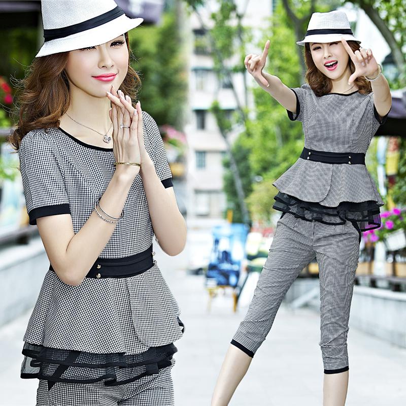 2018新款格子短袖显瘦时尚韩版休闲套装女夏装运动服两件套七分裤
