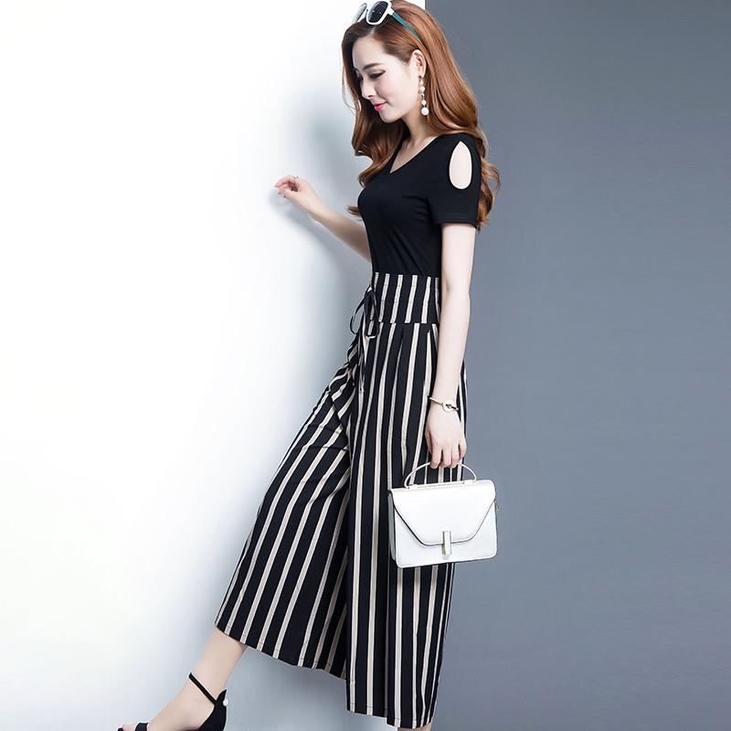 九分连体阔腿裤女2018夏季新款韩版修身短袖V领漏肩显瘦条纹裤裙