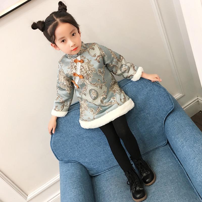过年喜庆宝宝装4女童旗袍冬公主女宝唐装5加厚1-3岁拜年服新年装2
