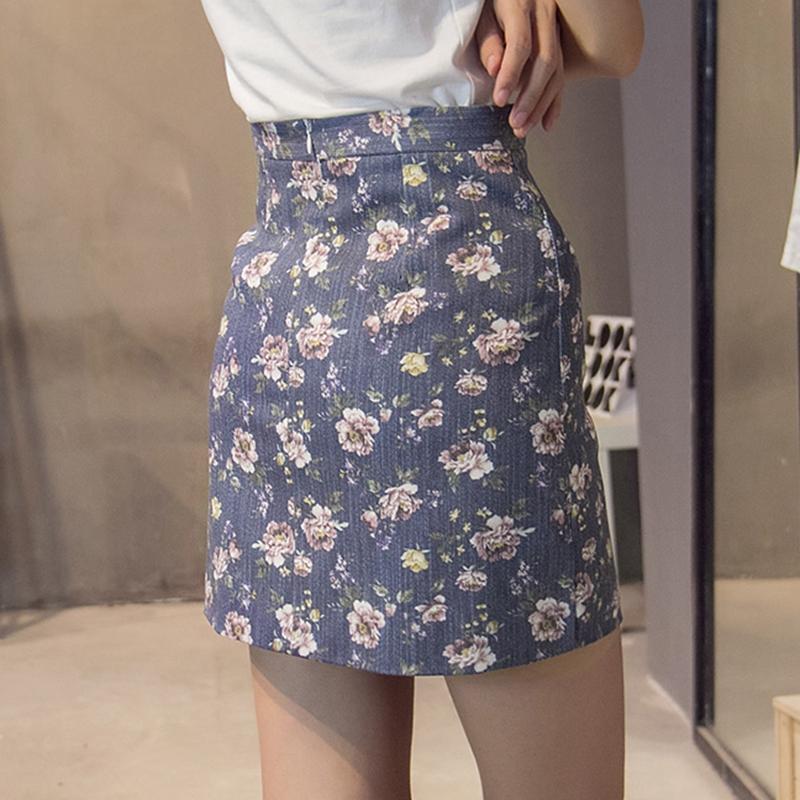 2018夏季小清新碎花半身裙短裙A字裙复古印花高腰显瘦包臀一步裙