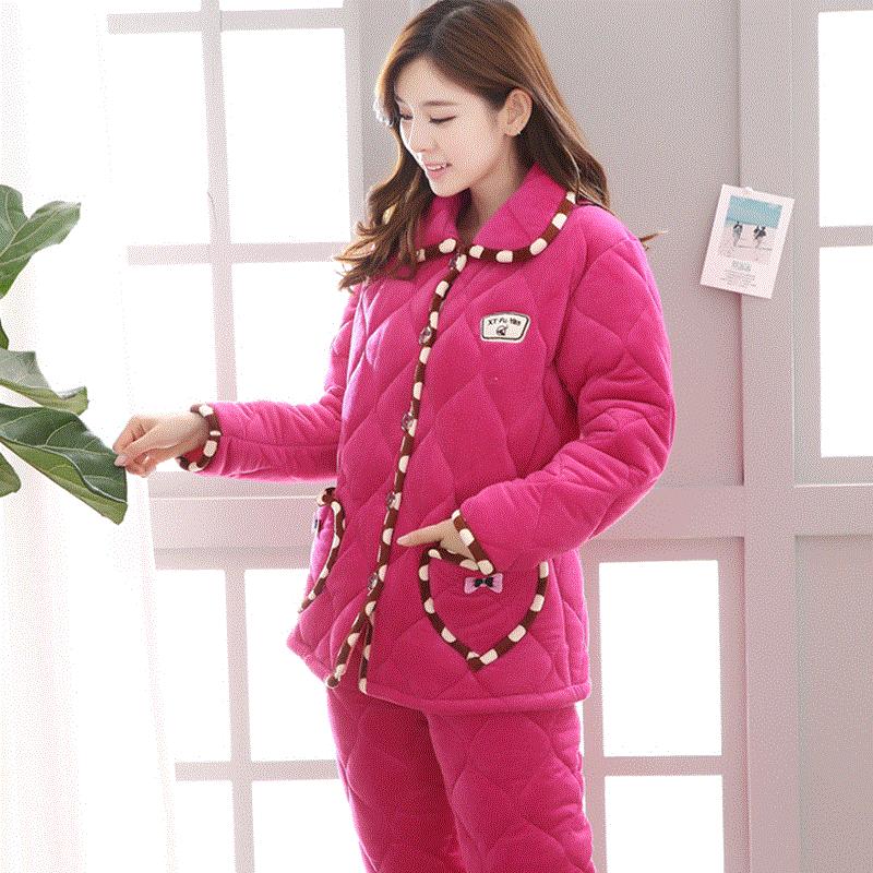 冬季睡衣女士玫红色花边三层加厚棉袄保暖法兰绒夹棉中年人家居服