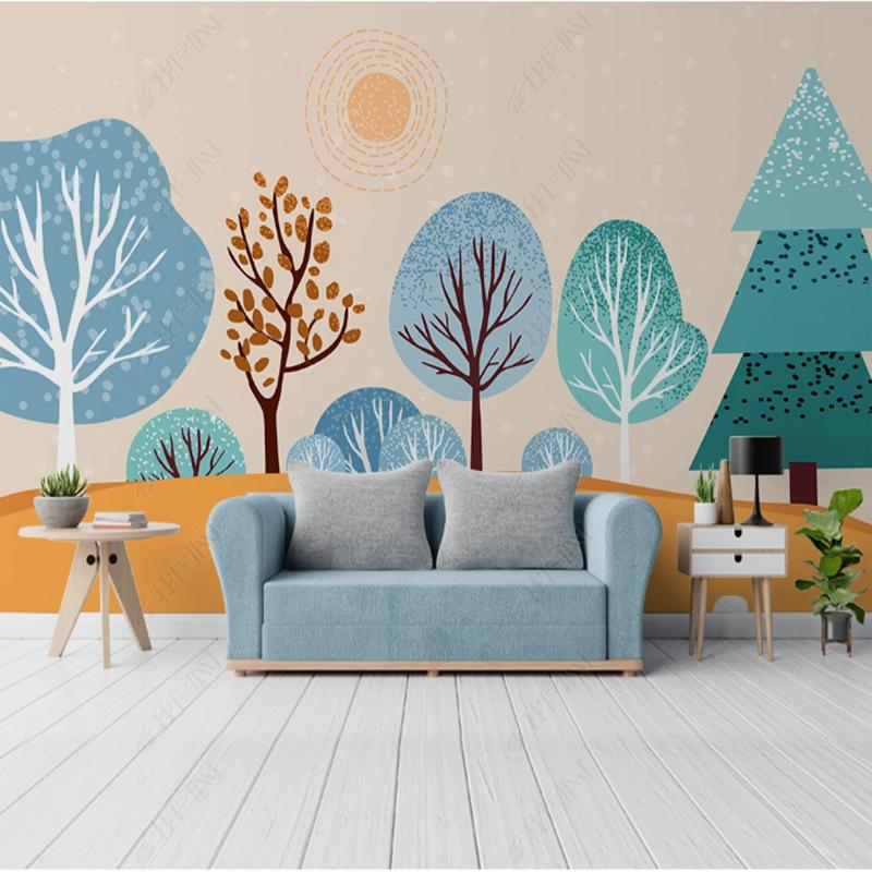 卡通绿色森林男孩卧室背景墙纸手绘3d立体小动物壁纸儿童房间壁画