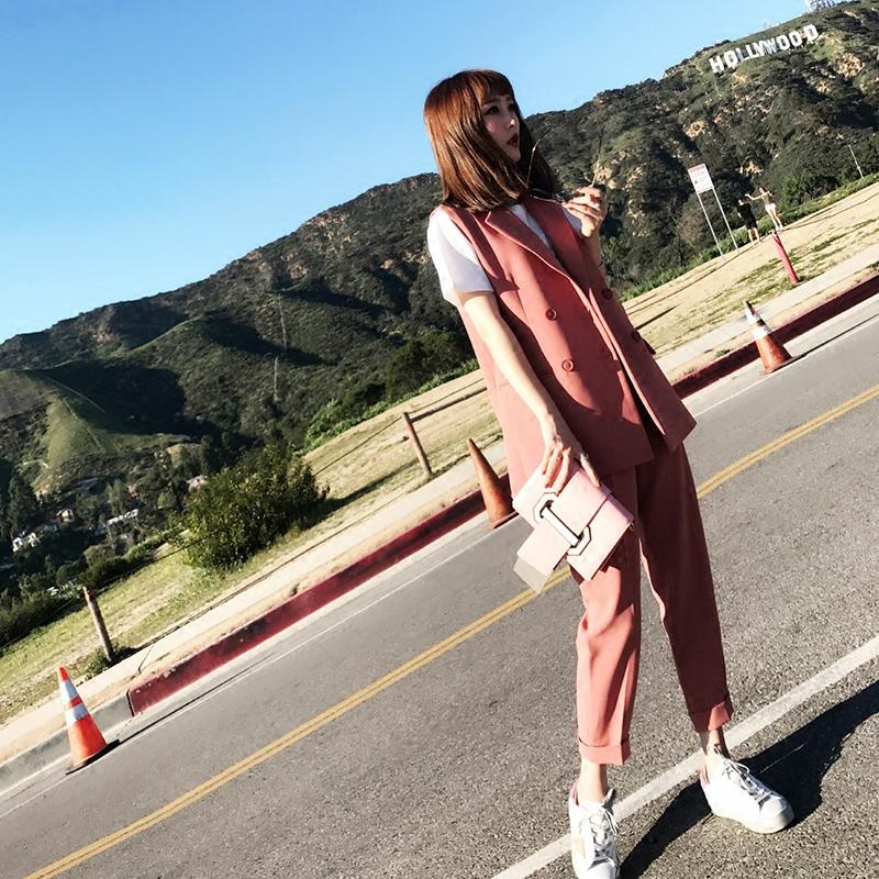 2018春装新潮套装女时尚气质休闲韩版西装马甲长裤名媛两件套