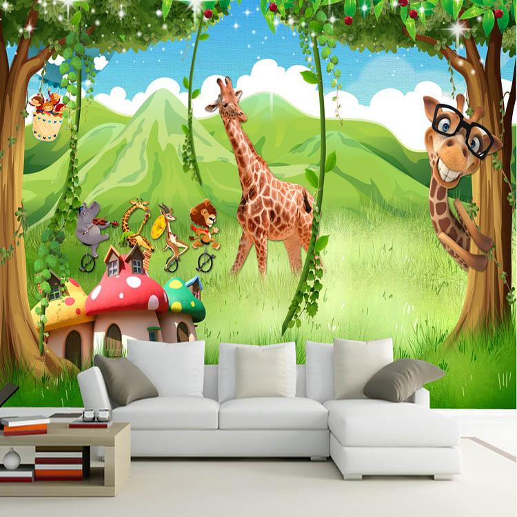 3d卡通动物主题壁画绿色森林壁纸儿童房卧室背景8d墙布幼儿园墙纸