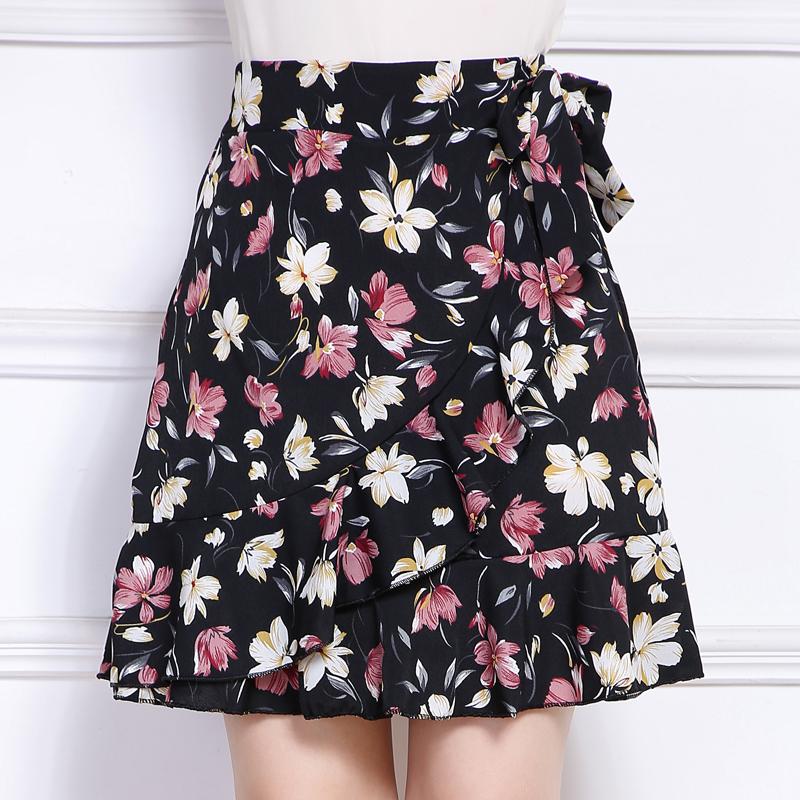 短裙新款高腰鱼尾裙印花半身裙碎花包臀a字裙女夏季荷叶边短裙裤