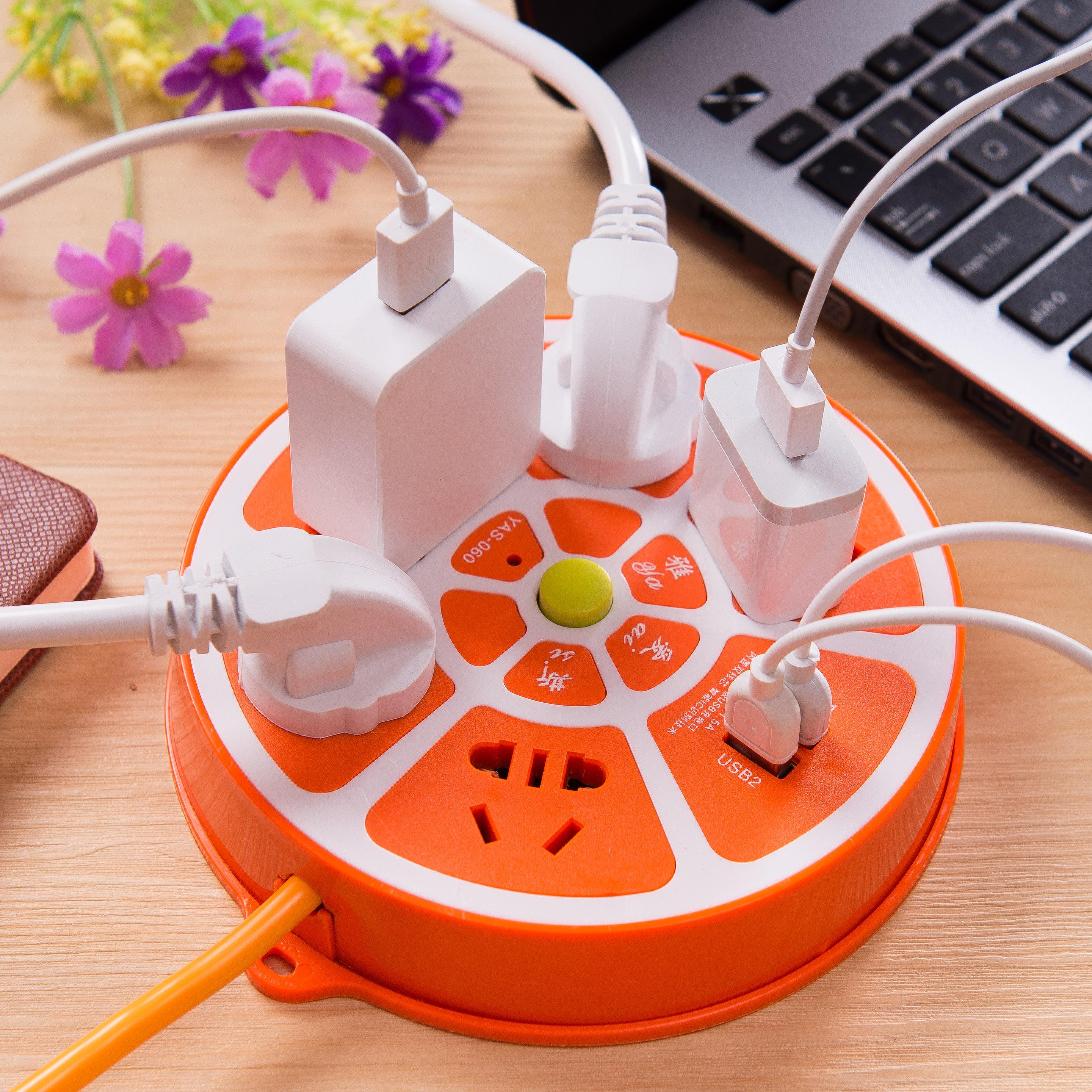 创意智能多功能插座带USB开关多孔电源家用排插多用充电器插线板