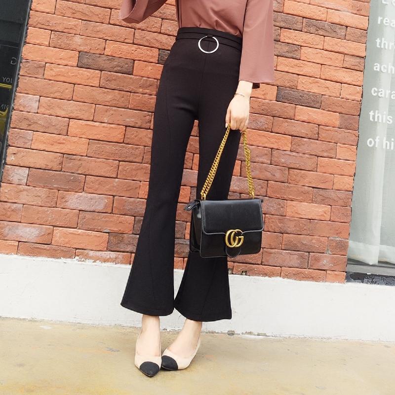 述致小喇叭裤女春季2018新款修身显瘦百搭韩版高腰弹力微喇九分裤