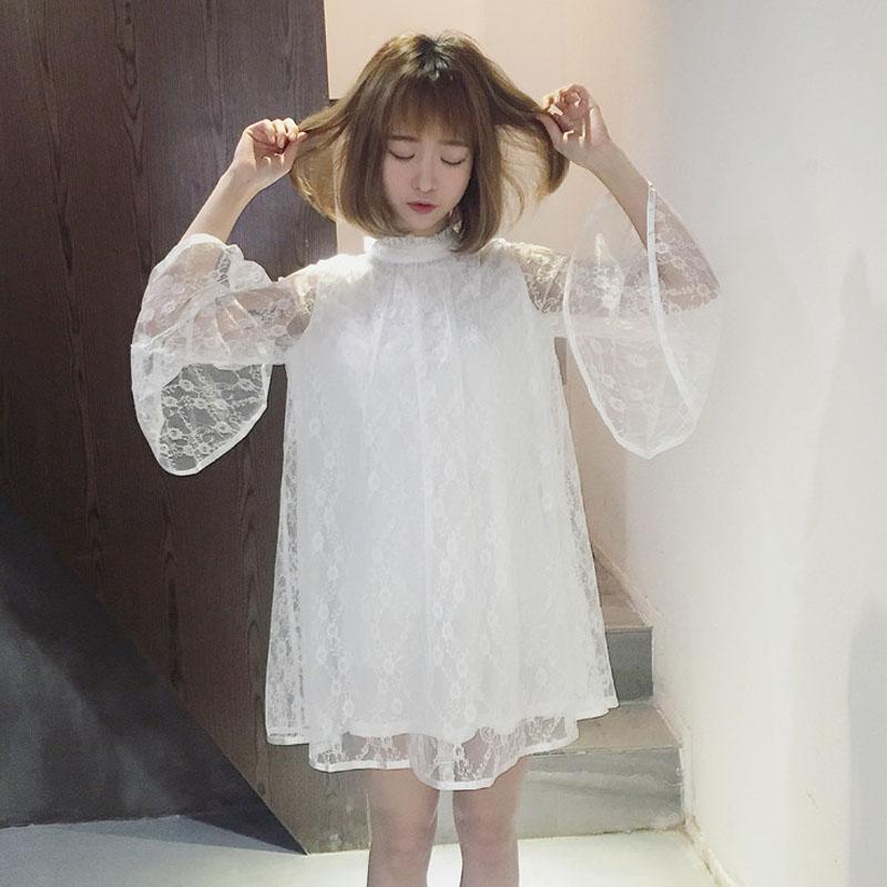 2018夏季新款女装韩版学生日系中长款小清新蝴蝶结蕾丝长袖连衣裙