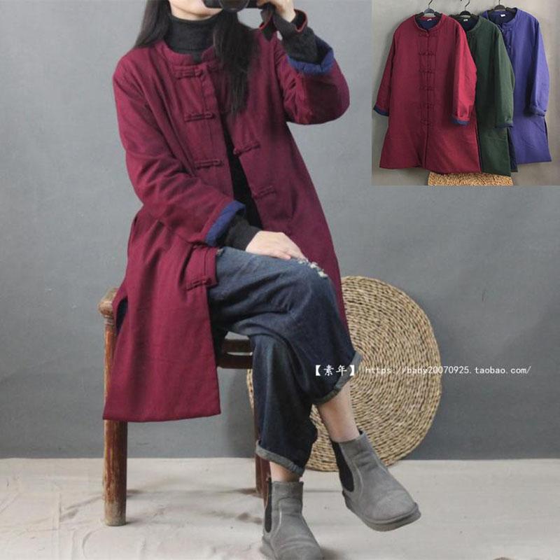 冬季女新款 中式盘扣棉麻文艺中长款茶服 民族风开衫风衣薄棉衣