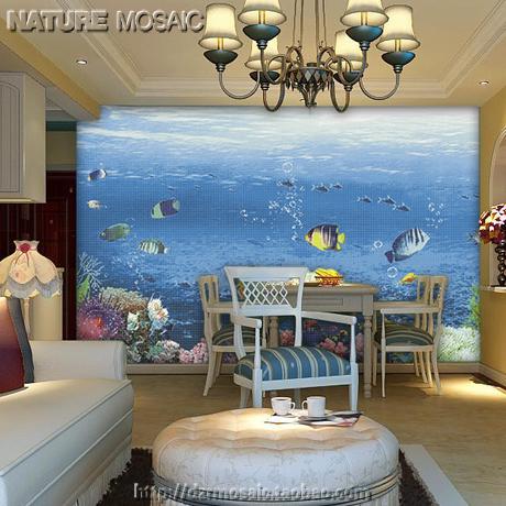 t地中海餐厅蓝色水池马赛克拼图水晶墙海底玻璃世界背景鱼墙贴长宁轻钢龙骨吊顶图片