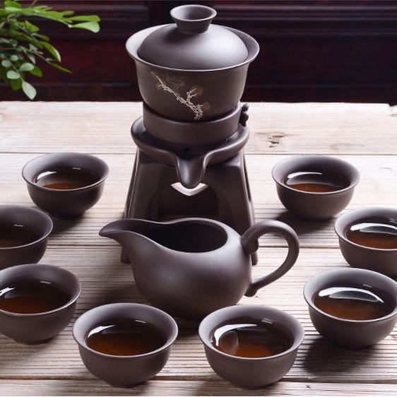 半全自动茶具套装陶瓷创意石磨复古懒人紫砂泡茶器礼品茶具茶壶杯