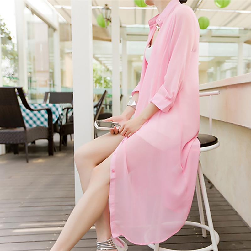 夏季沙滩防晒衫中长款透明防晒衣外套女薄雪纺宽松大码开衫防晒服