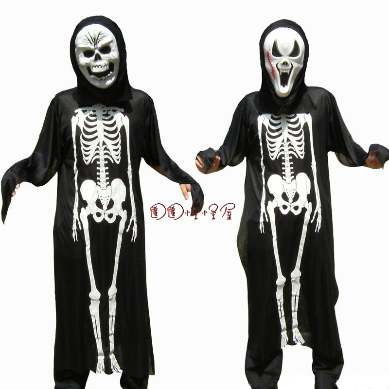 万圣节服装 成人搞笑整人游戏恐怖骷髅骨架鬼衣+塑料尖叫鬼脸面具