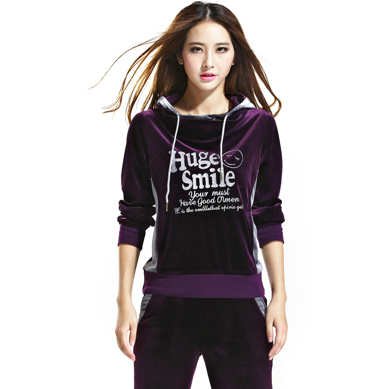 安踏天鹅绒运动套装_美琪正品牌2014春秋韩版女装匹克天鹅绒金丝绒卫衣卫裤运动服套装