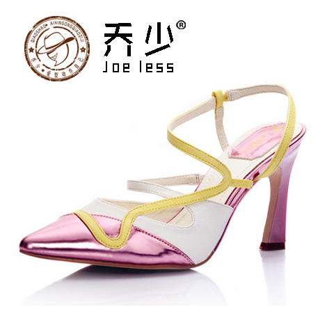 乔少单鞋欧美真皮凉鞋女明星同款尖头高跟鞋细跟鸳鸯鞋性感婚鞋