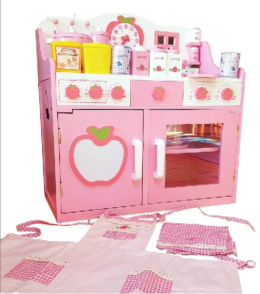 Mother Garden 草莓超大豪华公主厨房儿童过家家女孩玩具木制灶台