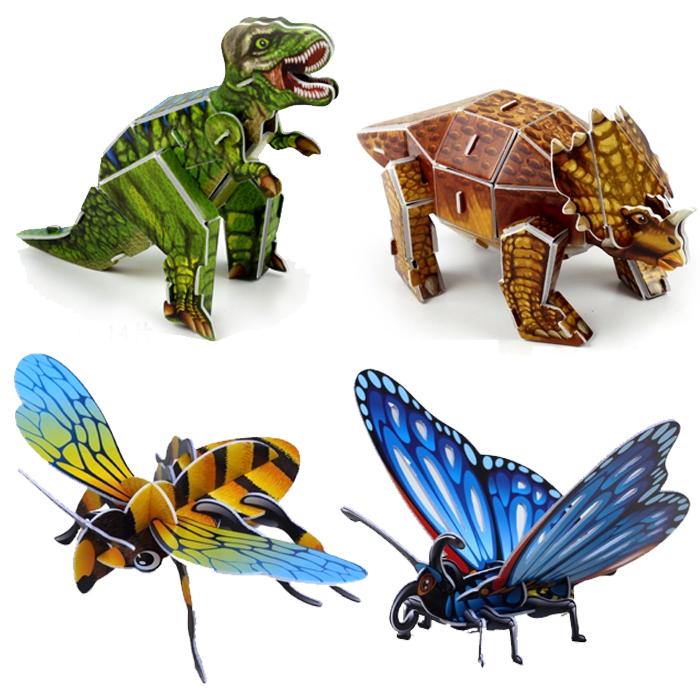 满20个包邮拼图级3d立体入门纸蝴蝶大全世界海底章鱼模型蜜蜂50日本动物怪兽动漫图片恐龙大图