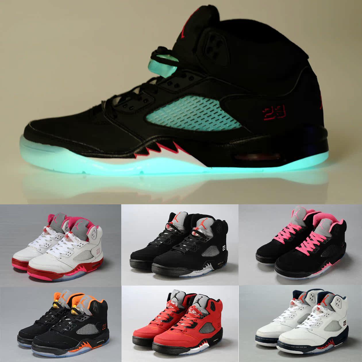 正品乔丹5代篮球鞋女鞋aj5 飞人男鞋jordan5运动鞋南海岸3代4夜光