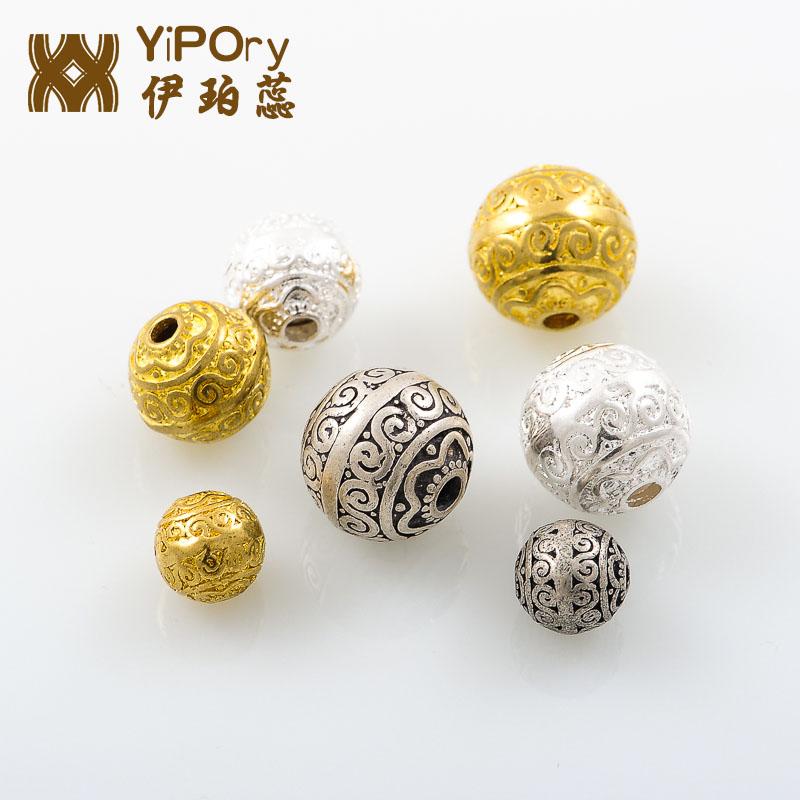 藏银藏式雕花隔珠  108菩提手串圆珠佛珠链藏饰饰品diy黄铜三通珠