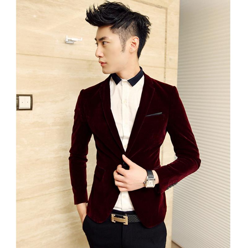 男装2014春季新款韩版潮流男士酒红色小西装男生时尚修身西服外套
