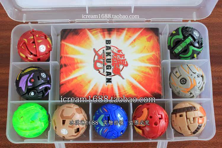 圣石奇兵玩具卡片_日本世嘉正版爆丸小子Bakugan小孩玩具9合1透明收藏盒装含9张卡片