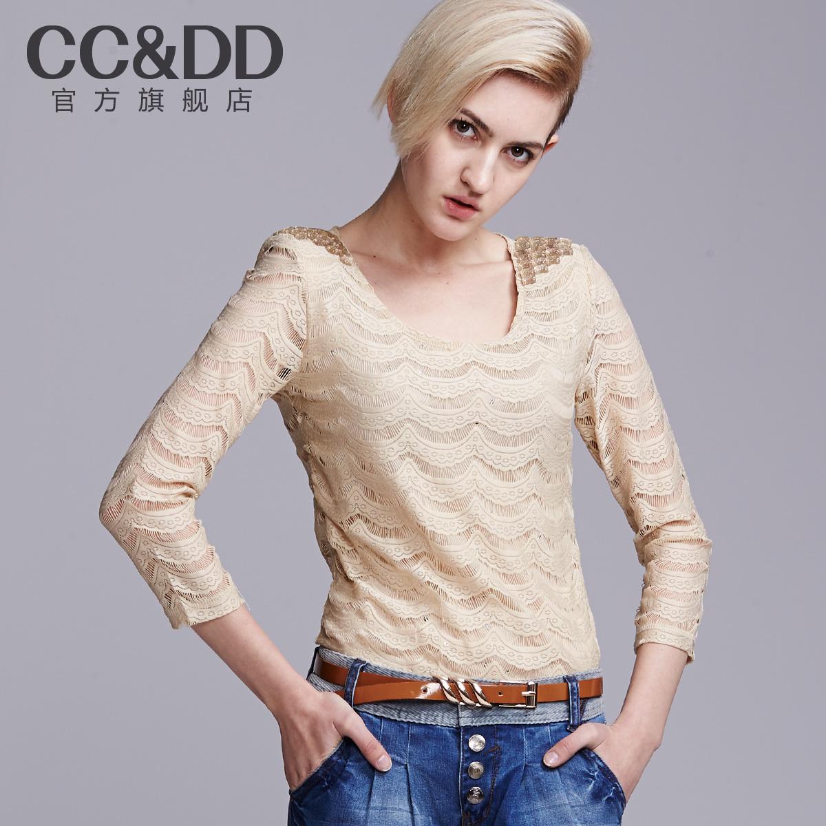 ccdd女装正品秋装_ccdd 2014春新款女装蕾丝打底小衫女士时尚性感七分袖上装打底衣